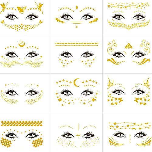 VIWIEU Temporary Face Flash Tattoo Set for Women Girls, 12 Sheets Metallic Glitter Face Jewels Stickers for Adults Shiny Water Transfer Tattoos for Make up Rave Costume Party Musical Festivals