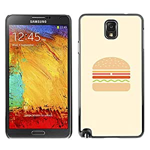 LASTONE PHONE CASE / Slim Protector Hard Shell Cover Case for Samsung Note 3 N9000 N9002 N9005 / Cool Burger Minimalist Hamburger Chef Cooking