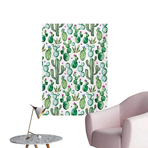Anzhutwelve Green Wall Sticker Decals Mexican Texas Cactus Plants Spikes Cartoon Like Artistic PrintWhite Pale Pink and Lime Green W32 xL48 Poster Paper