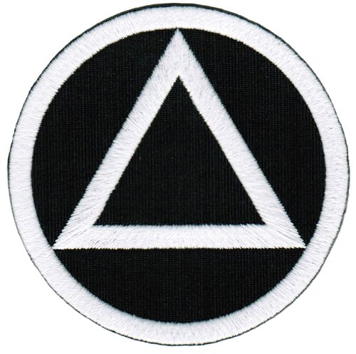 Circle Triangle Sobriety Patch Embroidiered Iron-On Sober Emblem Black White