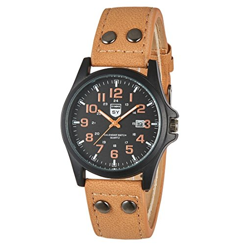 Lider Leather - LIDERE Mens Big Face Genuine Leather Band Military Tactical Analog Wrist Watch Heavy Duty BN8451