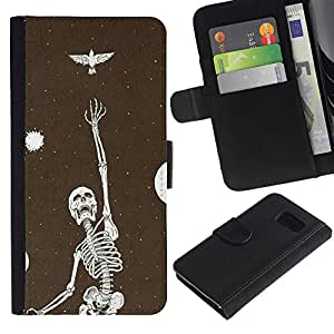 iKiki Tech / Cartera Funda Carcasa - Skeleton Bird Dreams Vignette Metal - Samsung Galaxy S6 SM-G920