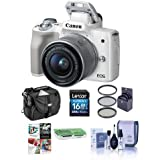 Canon EOS M50 Mirrorless Camera EF-M 15-45mm f/3.5-6.3 IS STM Lens, White - Bundle 16GB SDHC Card, Camera Case, 49mm Filter Kit, Cleaning Kit, Card Reader, Pc Software Package