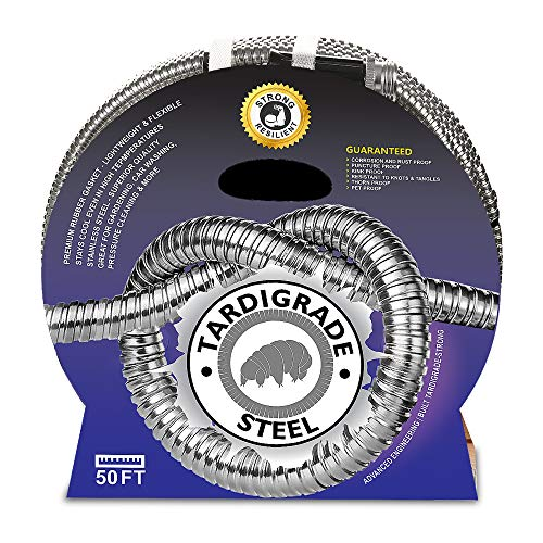 Tardigrade Steel Hose (50' 304 Stainless Steel Garden Hose - Lightweight, Kink-Free, Strong Flex, Metal Water Hoses, Forever Durable and Easy to Use