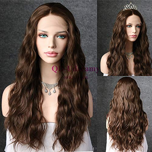 QD-Udreamy Dark Brown Color Natural Long Wavy Lace Front Wigs Party Wigs Heat Resistant Hair Realistic Looking Glueless Synthetic Wigs for Women (Medium Long Wigs)