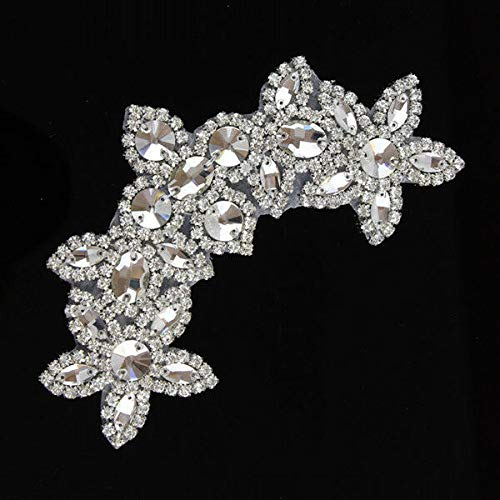 (Sew/Iron on Beaded Rhinestone Applique Trim Silver Bridal Dress Sash Craft New (Color - Silver))