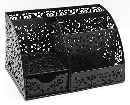 EasyPAG Desk Organizer 6 Compartments + Drawer with Mixed Pattern Decoration,Black
