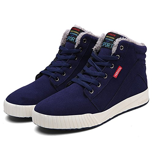 JACKSHIBO Men's Winter Warm Ankle Boots Fashion Lace-up Comfortable Casual Shoes Sneakers Blue wFEY6Hv9M