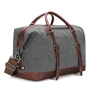 Kattee Genuine Leather Trim Canvas Travel Duffel Bag 45L