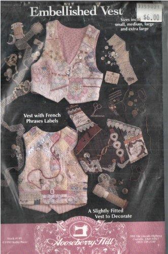 Gooseberry Hill 199 Embellished Vest, Sewing Pattern for V-neck Back Belt, Slightly Dart-Fitted Vest to Embellish, S M L Xl