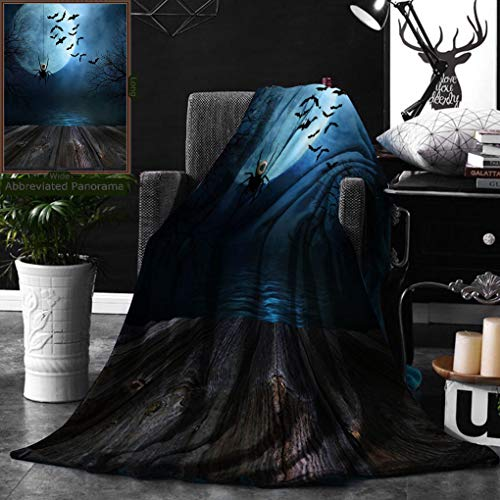 Unique Custom Double Sides Print Flannel Blankets Halloween Decorations Misty Lake Scene Rusty Wooden Deck Spider With Eyeball And B Super Soft Blanketry for Bed Couch, Throw Blanket 50 x -