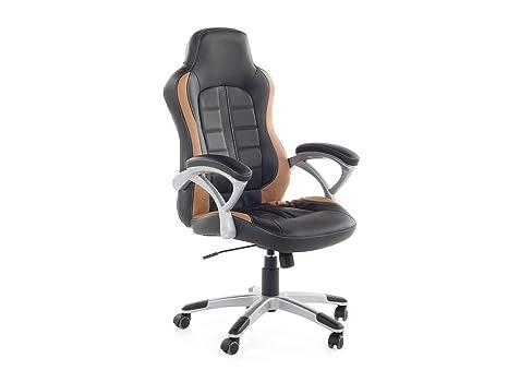 Sedie Ufficio Ecopelle : Sedia da ufficio in ecopelle nera e marrone chiara sedia da