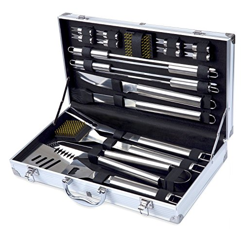 Kacebela Grilling Accessories with Storage Case, Grill BBQ Tools for Outdoor Barbecue Grilling (Stainless Steel,19-Piece) (Grilling Corn On The Cob On Gas Grill)