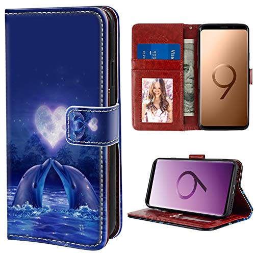 Moon Dolphins (YaoLang Samsung Galaxy S9 Wallet Case, Dolphin Moon Heart PU Leather Standable Wallet Phone Case with Card Holder Magnetic Hold for Samsung Galaxy S9)