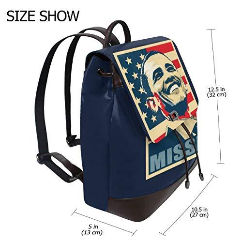 Barack Obama Missed Fashion Design Leather Backpack For Women Men College School Bookbag Weekend Travel Daypack ()
