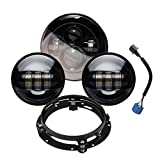 """Wisamic 7"""" LED Projection Daymaker Headlight + 2pcs 4-1/2"""" Fog Lights Passing Lamps with Adapter Ring for Harley Davidson Motorcycle (Black+Ring)"""