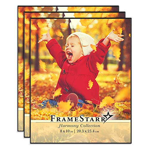 - FrameStarr 8x10 Picture Frame Set, Front Loading Contemporary Modern Style, Tabletop or Wall Mount, Harmony Collection (Black, 3 Pack)