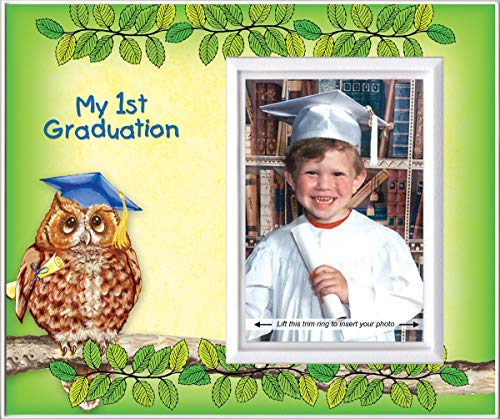 Pre-k Kindergarten Preschool Graduation Picture Frame | Affordable Colorful and Fun | Holds 3.5 x 5 Photo | Keepsake Gift for Parents | Innovative Front-Loading Photo | Owl Design