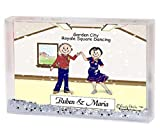 Personalized Friendly Folks Cartoon Snow Globe Frame Gift: Square Dance Couple