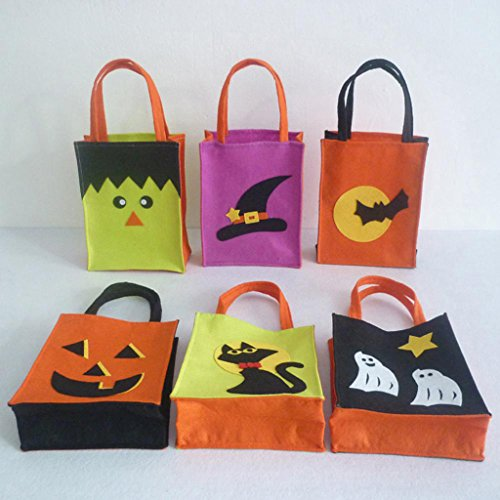 Jili Online Pieces of 6 Non-woven Fabric Mixed Style Halloween Holiday Trick or Treat Loot Tote Bags with Handle Home Party Gift Bags by Jili Online (Image #8)
