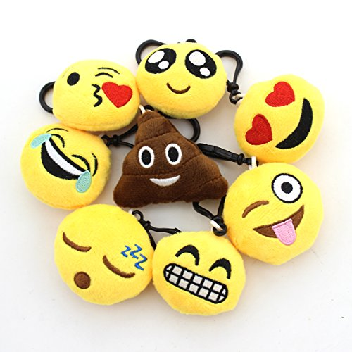 Zicome 2 Inch Mini Emoji Plush Key chains Set of 8 -