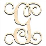 Back40Life Laser Cut Vine Wood Monogram Letter - 13-inch unfinished G