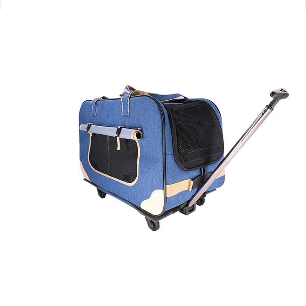 bluee Pet Carrier Pet Carrier Dog Pet Carrier Cat Pet Trolley Case Pet Out Cat Stroller Grid Pet Cage Pull Box,bluee