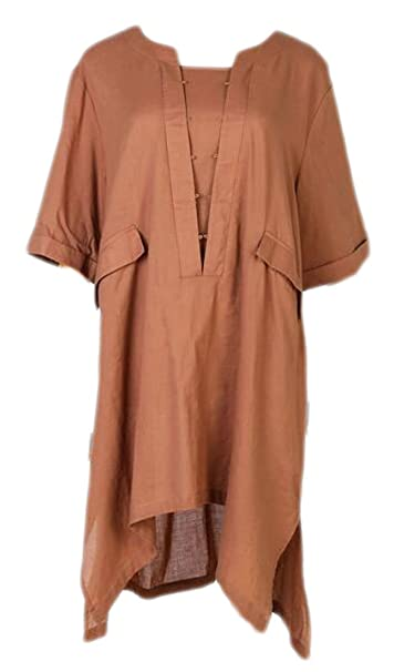 de9152e95ebf UUYUK-Women Linen Half Sleeve Irregular Plus Size Pocket Shirt Dress Coffee  US S