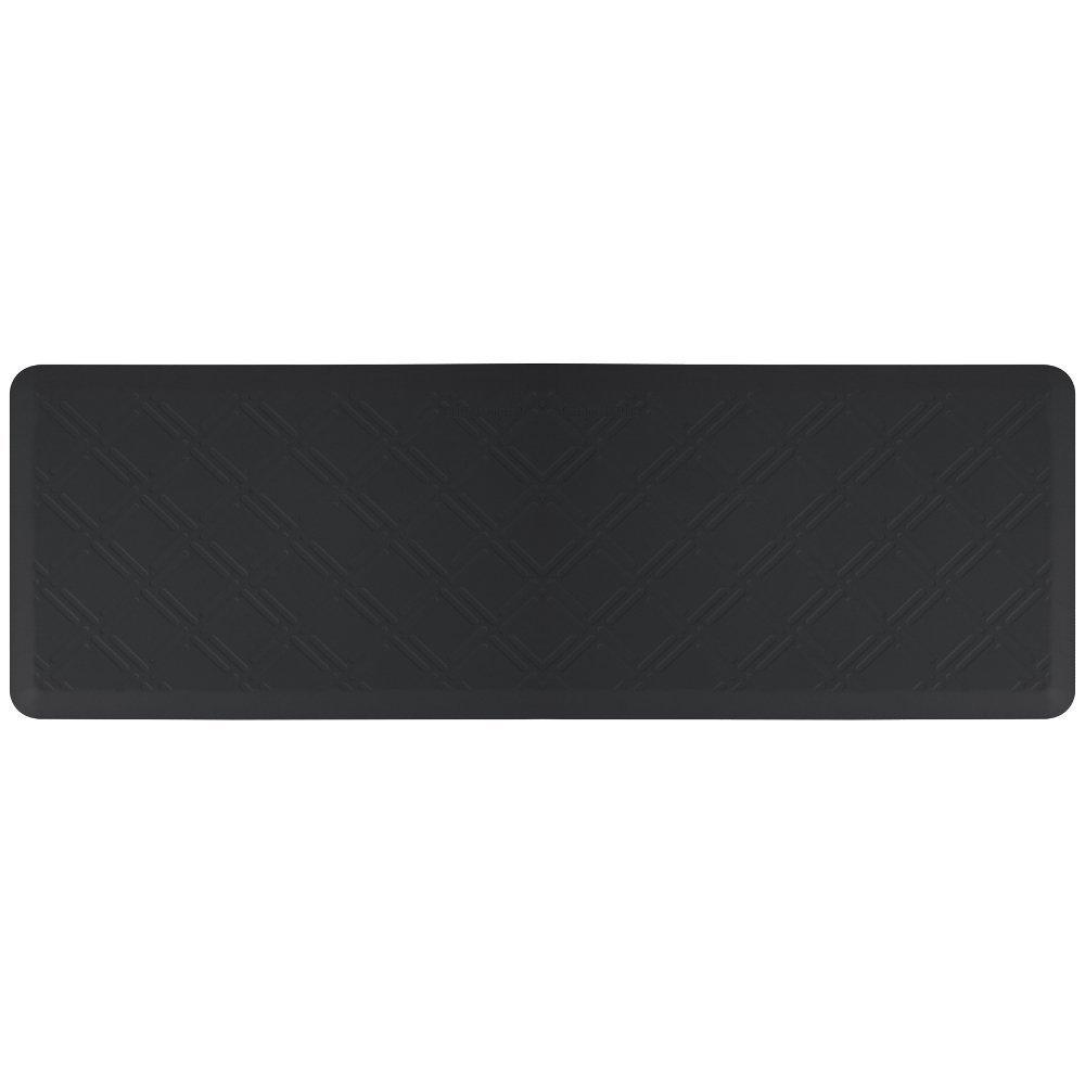 WellnessMats Moire Black Motif Mat, 72 x 24 Inch