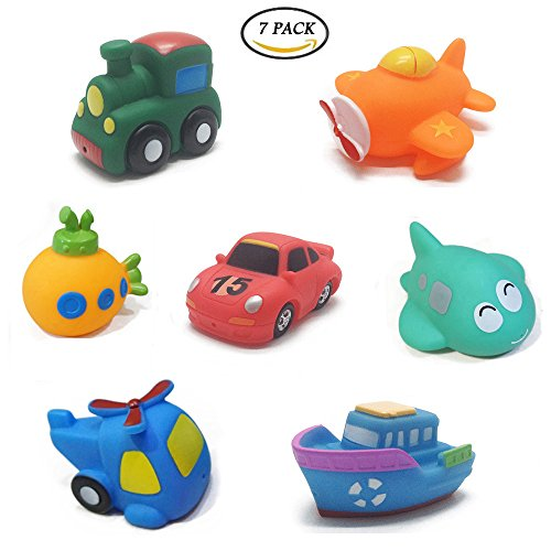 Cars 2 Piece Bath - UiiQ 7pcs Little Rubber Squirts Bath Toys Floating Bath Time Fun Squirters Water Pool Toys with Toy Organizer for Kids, Babies and Toddlers