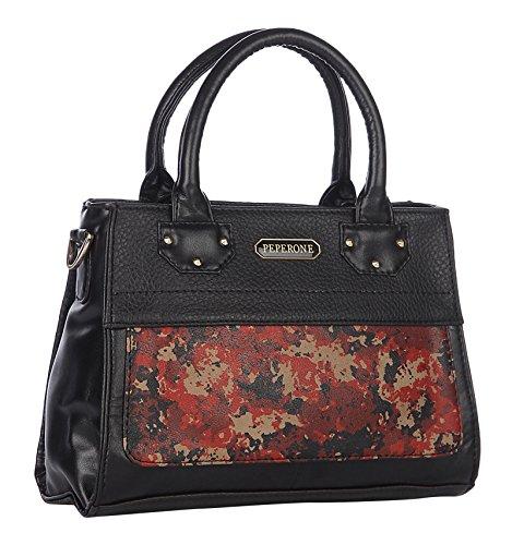 Peperone PU Leather Black Handbag Shoulder Tote Bag Women`s Designer Purse