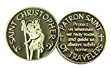 Silver and Black Tone Patron of Travelers Saint Christopher Devotional Prayer Token, 1 1/8 Inch