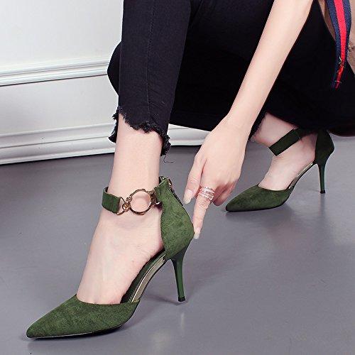 KHSKX-Mujer Zapatos De Tacón Alto Y El Nuevo Partido Suede Bien Con Sandalias Zapatos De Hebilla De Metal Lado Vacio Una Palabra green