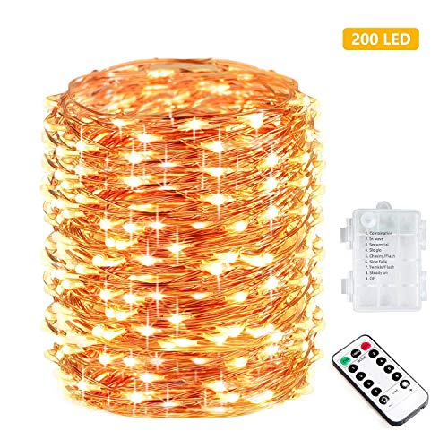 Bebrant 66Ft 200 LEDs Fairy Lights Christmas String Lights Battery Powered Outdoor Waterproof 8 Modes Dimmable Remote Control Decor Lights Copper Wire Firefly Lights for Bedroom Party Patio Wedding