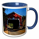 3dRose Danita Delimont - Bridges - USA, Oregon, Scio, covered bridge, Thomas Creek - US38 RBR0668 - Rick A Brown - 11oz Two-Tone Blue Mug (mug_146171_6)