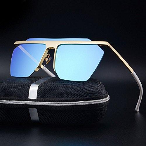 UNAKIM--Men's Retro Vintage Oversized Half frame Aviator Sunglasses Eyewear Eye - My Shape Glasses Face Right For