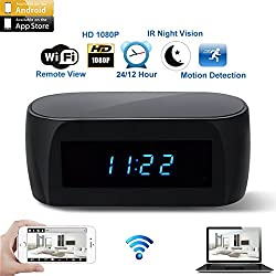 CAMXSW Newest Version Wi-Fi Camera Alarm Clock with Motion Detection IR Night Vision,HD 1080P Wall Table Clock Nanny Cam Real-time Video Recorder Remotely Monitoring Home Security Camera Black