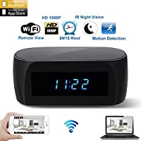 CAMXSW Newest Version Wi-Fi Spy Camera Alarm Clock with Motion Detection IR Night Vision,HD 1080P Clock Nanny Cam Real-time Video Recorder Remotely Monitoring Mini Home Security Hidden Camera Black