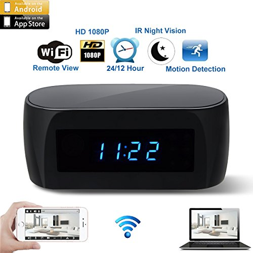 n Wi-Fi Electronic Clock Camera with IR Night Vision,HD 1080P Wall Desk Table Clock Nanny Cam Real-time Video Recorder Remotely Monitoring Home Security Camera Black (Desk Clock Camera)