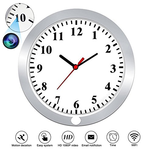 CAMXSW Hidden Cameras 1080P WiFi Spy Camera Wall Clock Security with Motion Detection, Hidden Pinhole Camera, Nanny Camera, Spy Surveillance Cameras Video Recorder Support Android IOS Live View
