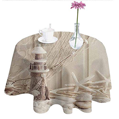 Fishing Net Decor Waterproof Anti-Wrinkle no Pollution Marine Theme Sea Stars and Shells Underwater Life Wooden Lighthouse Table Cloth D59 Inch Beige Cream