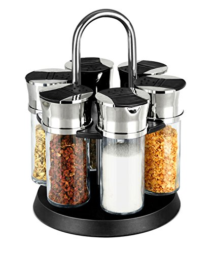 Home Basics 6-Piece Revolving Spice Rack, Clear Glass and Black Base
