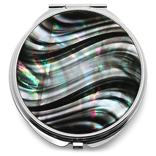 Makeup Compact Pocket Mirror Mother of Pearl Metal Round Double Sided Folding Magnify Wavy Zebra Stripe Black White