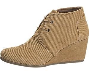TOMS Womens Desert Wedges Boot (5 B(M) US, (Black Suede))
