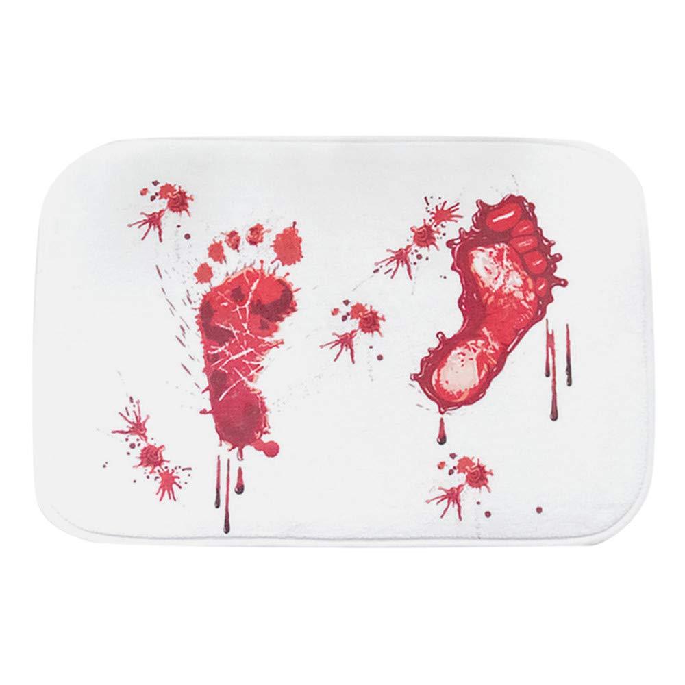 Clearance Sale!UMFun Blood Footprint Bath Mat Door Mat Scary Horror Style Halloween Decoration Hot Blood Carpet (C:45x70cm)