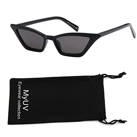 My Uv Small Cat Eye Sunglasses Vintage Square Shade Women Eyewear With Microfiber Pouch by My Uv