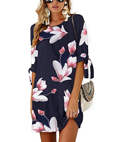 YOINS Women Mini Dress Round Neck Random Floral Print Self-tie at Sleeves Mutil Color Pink XL