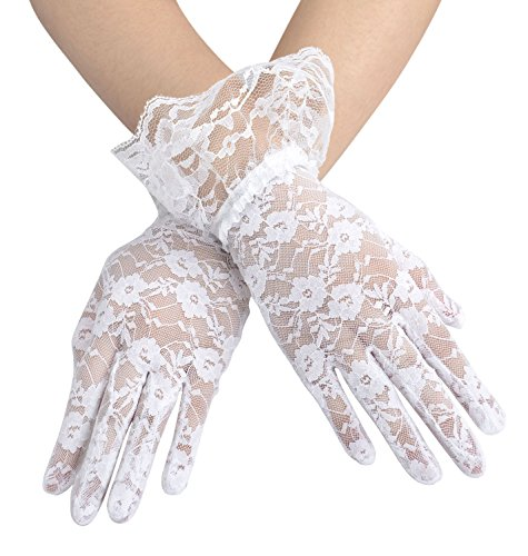 Women's Summer Elegant & Dressy Short White Lace Gloves with Wrist Ruffle]()