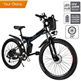 Aceshin 26'' Electric Mountain Bike with Removable Large Capacity Lithium-Ion Battery (36V 250W), Electric Bike 21 Speed Gear and Two Working Modes Black (US Stock)