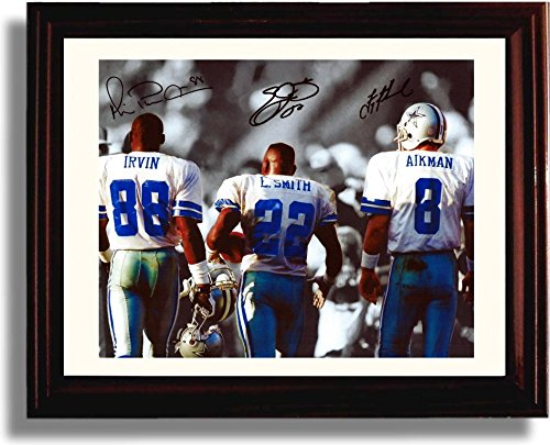 Framed Big 3 Autograph Replica Print - Michael Irvin, Emmit Smith, and Troy A...